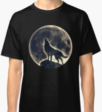 Wolf, moon, fantasy, wild, dog, wolves Classic T-Shirt
