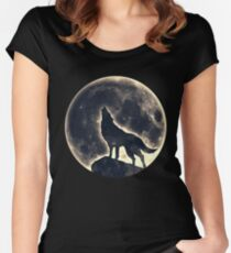 Wolf, moon, fantasy, wild, dog, wolves Women's Fitted Scoop T-Shirt
