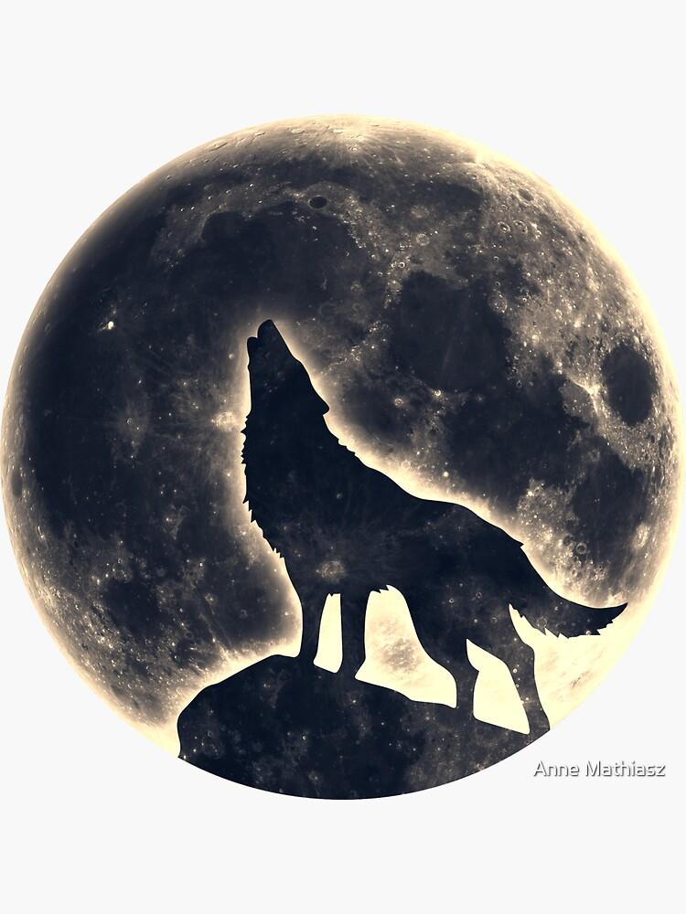 Wolf Vollmond Mond Space Wicca Pagan von boom-art