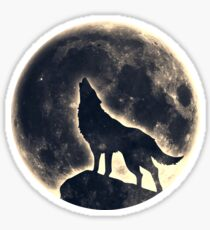 Wolf, moon, fantasy, wild, dog, wolves Sticker