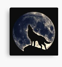 Wolf, moon, fantasy, wild, dog, wolves, sky, night Canvas Print