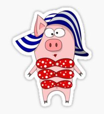 Pig in swimsuit and hat Sticker
