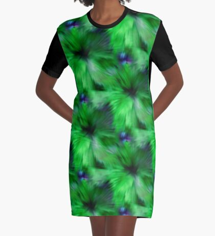 Brilliant Green Abstract Strokes Graphic T-Shirt Dress
