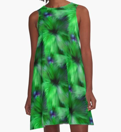 Brilliant Green Abstract Strokes A-Line Dress
