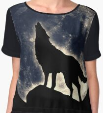 Wolf, moon, fantasy, wild, dog, wolves, sky, night Chiffon Top