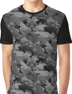 Hydrangea Flowers In Black And White Graphic T-Shirt