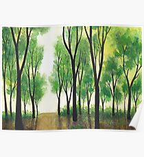 Watercolor Green Summer Forest Poster