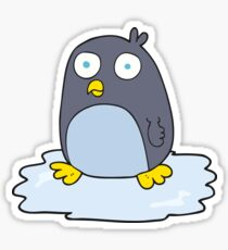 cartoon penguin on ice Sticker