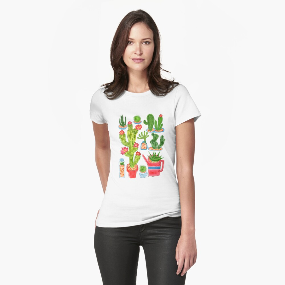Kaktus Tailliertes T-Shirt