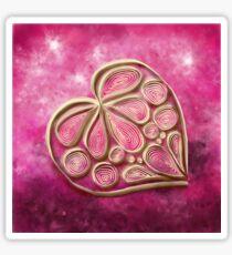 Pink Quill Heart Sticker