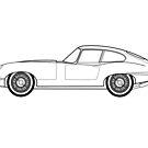 Jagur E-Type Line Drawing Artwork by RJWautographics