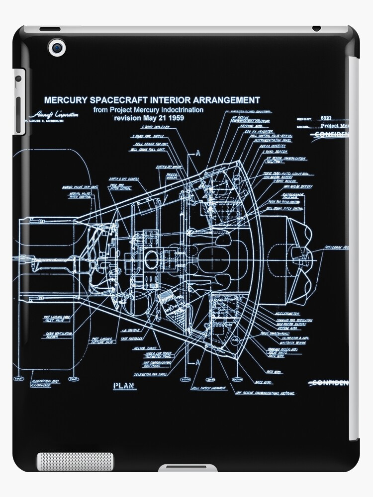 'Mercury Capsule Technical Drawing' iPad Case/Skin by JacobT14