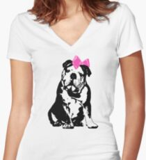 Betty Bulldog Women's Fitted V-Neck T-Shirt