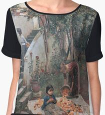 John William Waterhouse - The Orange Gatherers . Garden landscape: garden view, trees and flowers, blossom, nature, botanical park, floral flora, wonderful flowers, plants, cute plant, garden, flower Women's Chiffon Top