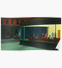 Weinlese Edward Hopper Nighthawks Abendessen Poster