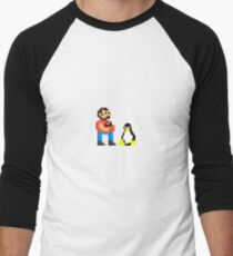 Tux and some linux guy Men's Baseball ¾ T-Shirt