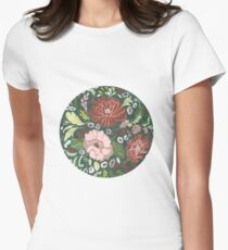 Dark Floral Tapestry Womens Fitted T-Shirt