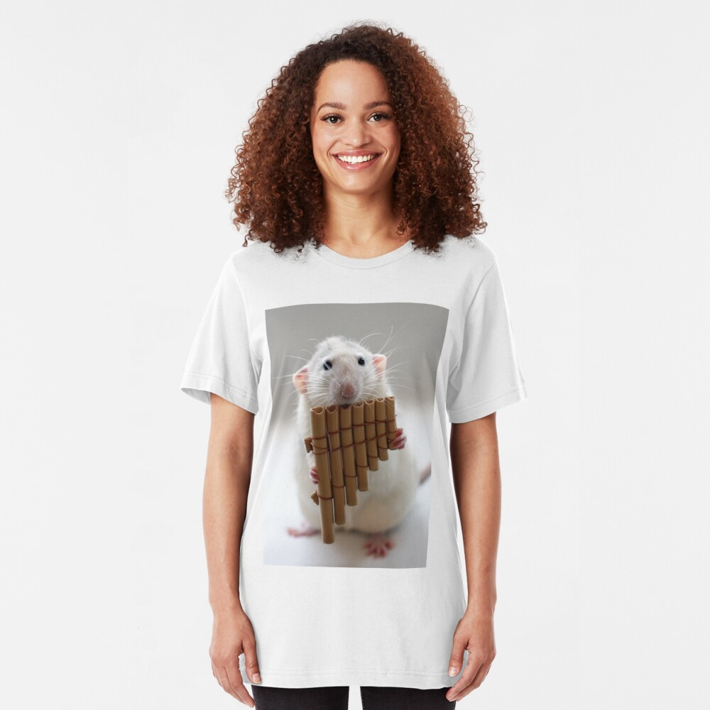 Playing the panflute. Slim Fit T-Shirt