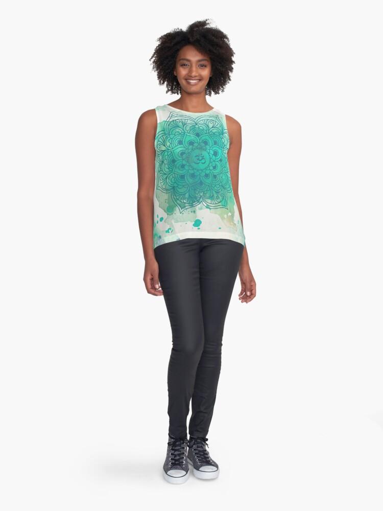 Vista alternativa de Blusa sin mangas Green Mandala watercolor