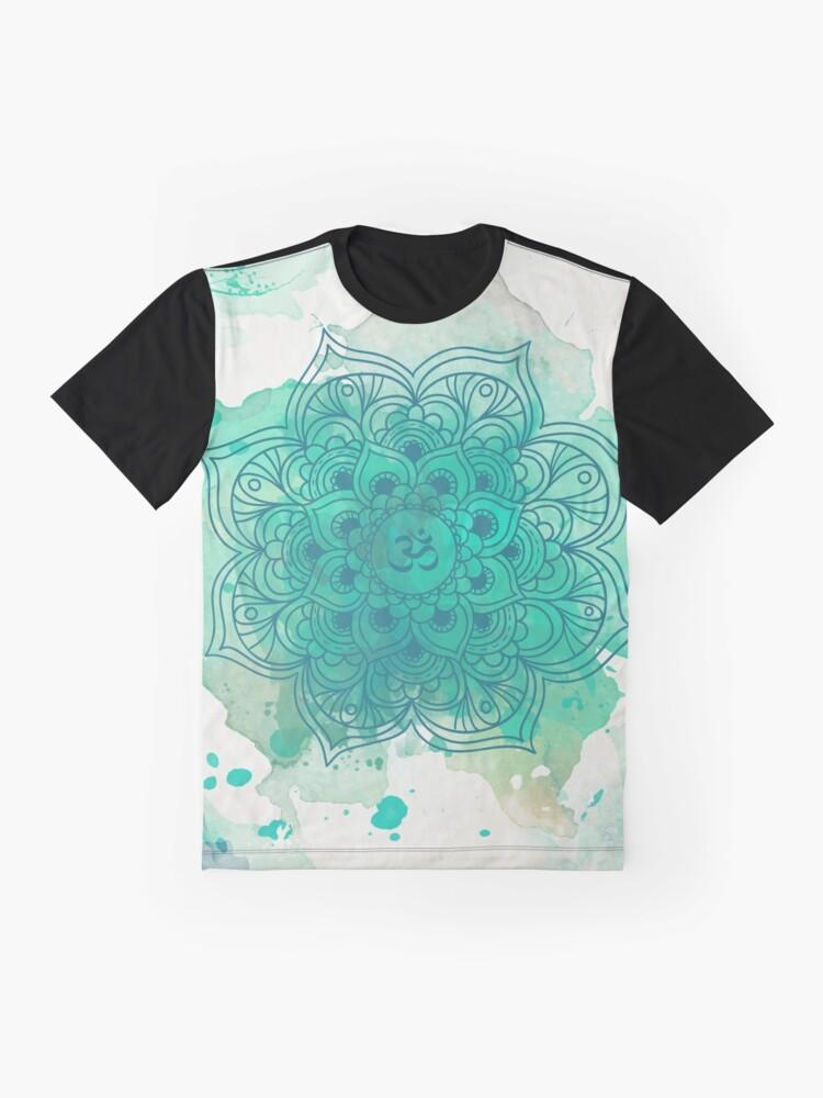 Vista alternativa de Camiseta gráfica Green Mandala watercolor