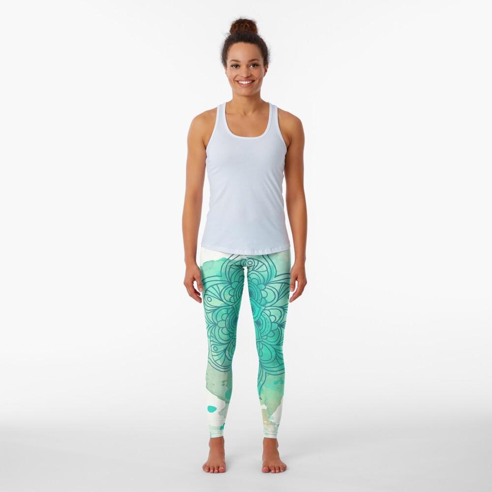Green Mandala watercolor  Leggings