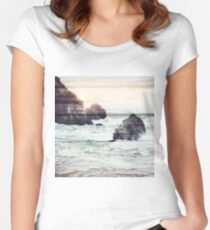 Driftwood beach landscape | Globetrotter Women's Fitted Scoop T-Shirt