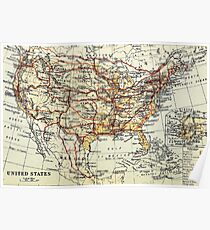 Old map of America 1865 - 1907 Poster