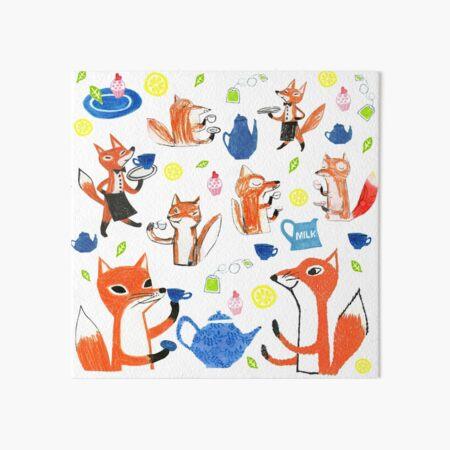 A foxes tea party Art Board Print