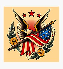 American Traditional Eagle and Flag Photographic Print