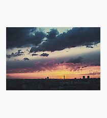 Epic Dramatic Sunset Sky in Industrial City Photographic Print