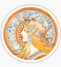 Art Nouveau - Mucha (watercolours hand reproduction) Sticker
