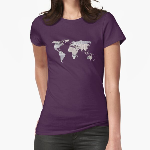 Newspaper World Map Fitted T-Shirt