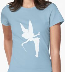 White Tinker Bell Silhouette Womens Fitted T-Shirt