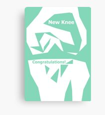 Knee Replacement Operation Congratulations Card Green by Jenny Meehan Canvas Print