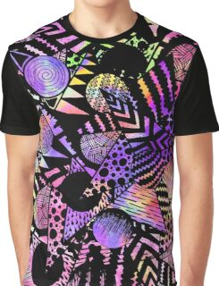 Geometric Retro Neon Watercolor Black Drawn Shapes Graphic T-Shirt