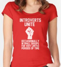 Introverts unite occasionally in small groups for very limited periods of time Women's Fitted Scoop T-Shirt