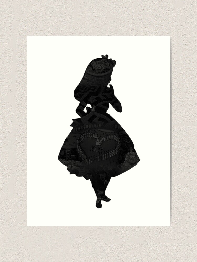 Alice In Wonderland Black Picture Silhouette Art Print By Bethannieej Redbubble