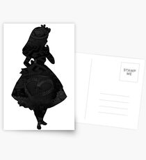 Alice in Wonderland, Black Picture Silhouette Postcards