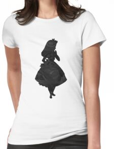 Alice in Wonderland , Black Picture Silhouette Womens Fitted T-Shirt