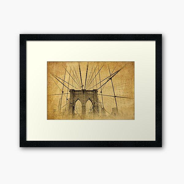 Brooklyn Bridge Postcard II Framed Art Print