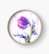 Thistle- Watercolor Clock