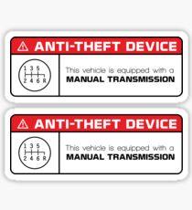 Anti-Theft Device: Manual Transmission Warning (reverse gear on bottom right) Sticker