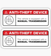Anti-Theft Device: Manual Transmission Warning (reverse gear on bottom right) Sticker