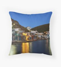 Klima village, Milos island Throw Pillow