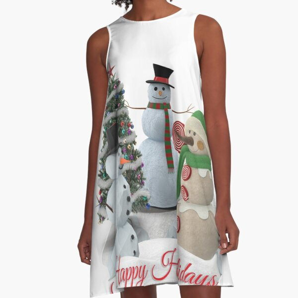 SnowPals Happy Holidays A-Line Dress