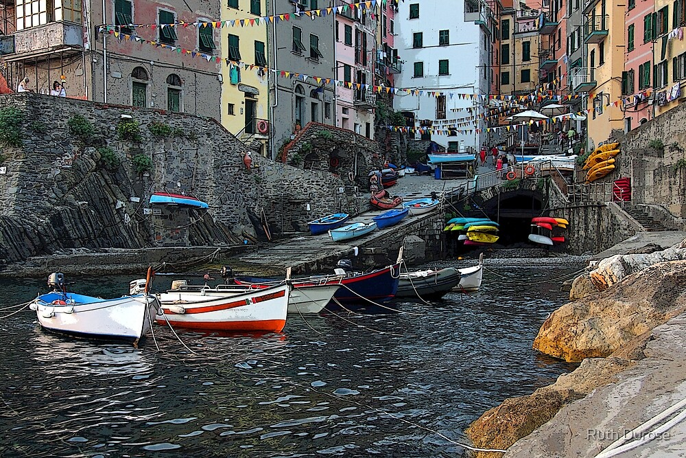 Riomaggorie Harbour-Cinque Terre, Italy by Ruth Durose