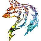 Trippy Tribal Wolf/Fox by Adamhass