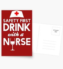 Safety first drink with a nurse Postcards