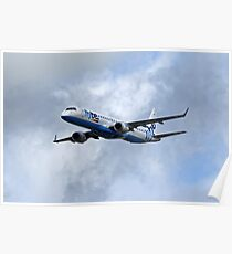 Flybe regional airline company Embraer 195 Poster