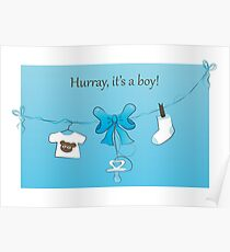 Baby Birth Announcement Card Boy Poster